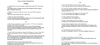 Romeo and Juliet Reading Questions and Answers