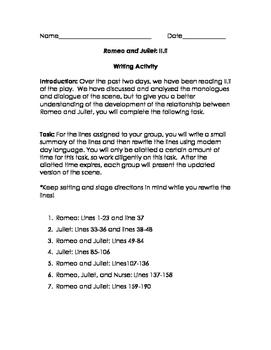 Romeo and Juliet: Rewriting Act II.ii
