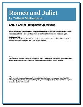 Romeo and Juliet - Shakespeare - Group Critical Response Q