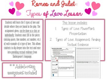 "Romeo and Juliet ""Types of Love Assignment"""