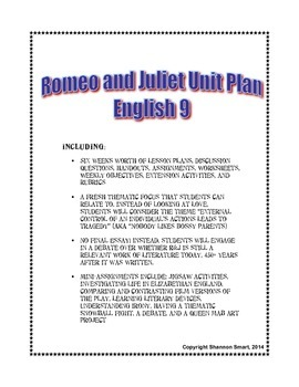Romeo and Juliet Unit - Lessons, Handouts, Assignments, Ru