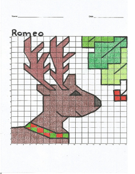 Romeo the Christmas Reindeer Coordinate Plane Graph Myster