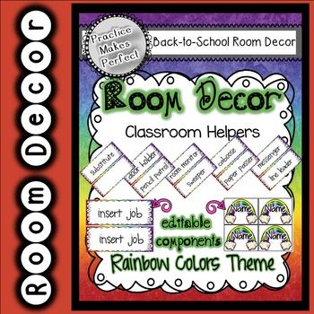 Room Decor Classroom Helpers - Rainbow Theme