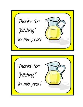 Room Parent Gift Tag - Thanks for Pitching In This Year