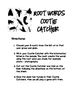 Root Word Cootie Catcher