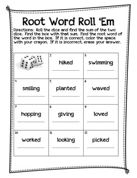Root Word Roll Em' Game