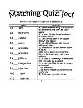 Root Words Quiz
