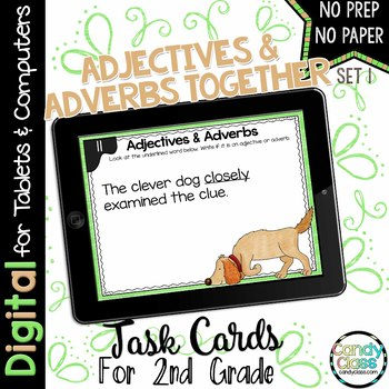 Adjectives & Adverbs - Set 1 - Digital Task Cards for Google Use