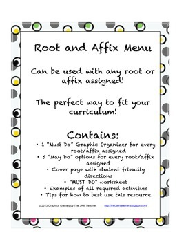 Root and Affix Work: Menu for upper elementary and middle