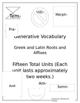 Roots & Affix Units - Generative Vocabulary Pre-Tests, Pos