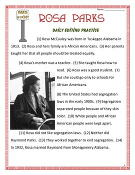 Rosa Parks- Daily Editing Practice