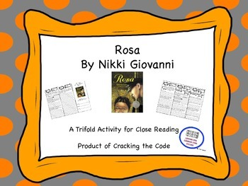"""""""Rosa"""" Trifold Activity McGraw Hill Reading Wonders 5th Grade"""