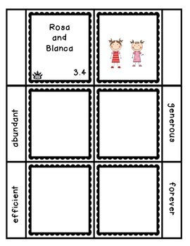 Rosa and Blanca vocabulary flap book