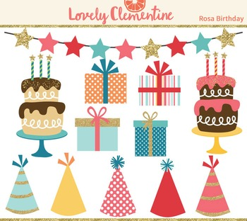 Rosa birthday clip art images, cake clip art, party clip art