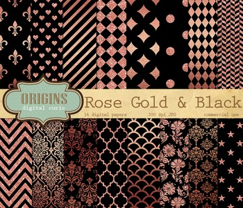 Rose Gold and Black digital paper, scrapbooking backgrounds
