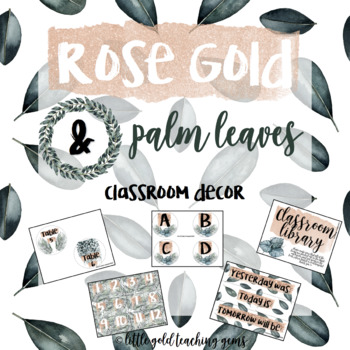 Rose Gold and Palm Classroom Decor