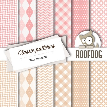 Rose and gold classic patterns—argyle, houndstooth, chevro