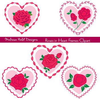 Clipart: Rose in Embroidered Heart Frames Clip Art