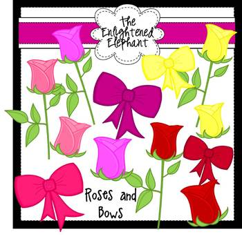 Roses and Bows Clip Art