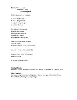 Rosetta Stone Level 3 Unit 3 Vocabulary Lists (Latin America)