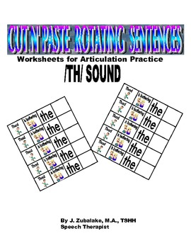 Rotating /TH/ Sentence Cut & Paste Worksheets for Articula