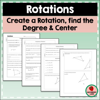 Rotations Worksheet Constructions Find Center Degree Funct