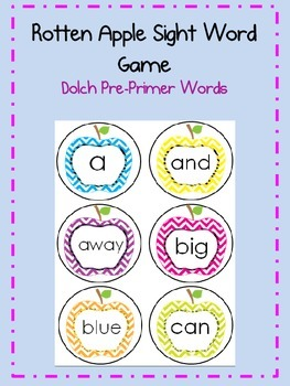 Rotten Apple Dolch Pre-Primer Sight Word Game