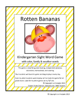 Kindergarten Sight Word Game Rotten Bananas