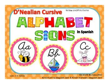 SPANISH Round Alphabet Signs in Cursive