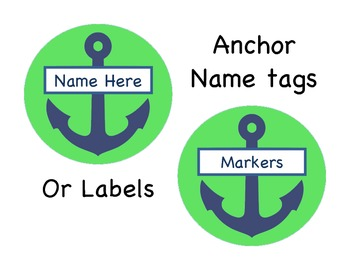 Round Anchor Name tag and/or Labels. Green and blue!
