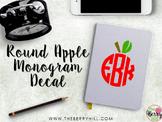 Round Apple Monogram Decal