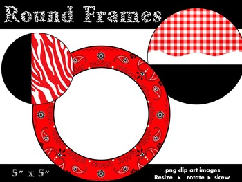 Round Frames - Red, White and Black - Personal and Commercial use
