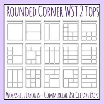 Rounded Corner 2 Header Worksheet Templates Clip Art Set f