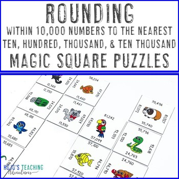 Rounding within 10,000 Numbers Math Center Games