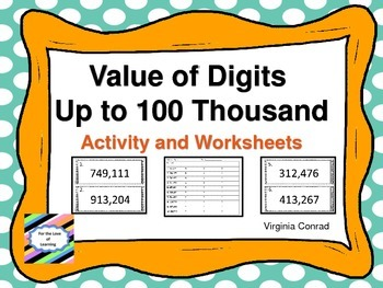 Place Value of 6 Digit Numbers--Activity and Worksheets