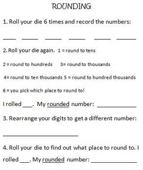 Round, Add and Subtract Dice Activity