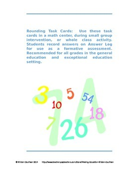 Rounding Activity Task Cards