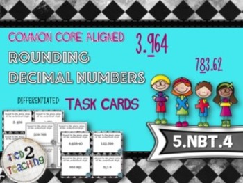 Rounding Decimal Numbers Task Cards - 28 Common Core Align