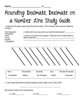 Rounding Decimals Worksheet
