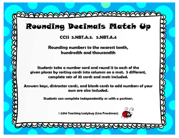 Rounding Decimals to Tenths, Hundredths, & Thousandths Sor