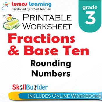 Rounding Numbers Printable Worksheet, Grade 3