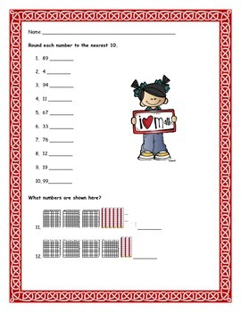 Rounding, Place Value and Double Digit Addition Test