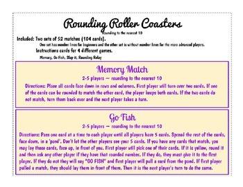 Rounding Roller Coaster Games matching, go fish, slap it,