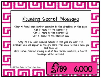 Rounding Secret Message (Rounding Whole Numbers up to the