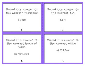 Rounding Task Cards 4th Grade Common Core