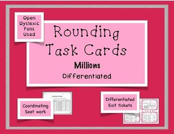 Rounding Task Cards Differentiation Bundle Millions - 2 sets