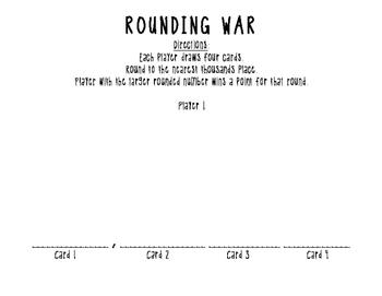 Rounding War - File Folder Card Game