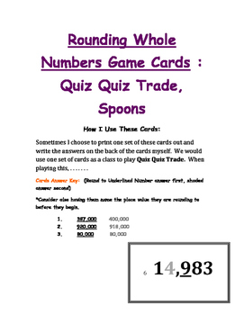 Rounding Whole Numbers Game Cards Quiz Quiz Trade