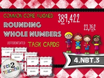 Rounding Whole Numbers Task Cards - 28 Common Core Aligned