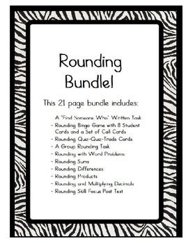 Rounding Whole Numbers and Decimals Bundle-Games/Written T